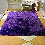 Cheap Faux Sheepskin Rug Shag Silky Sofa Plush Carpet Classic Rectangle Faux Fur Area Rug for bedroom(2′ x 3′,Purple)