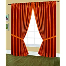 Editex Home Textiles Elaine Lined Pinch Pleated Window Curtain, 48 by 63-Inch, Orange