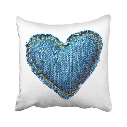 Pattebom Blue Denim Valentine Jeans Heart White Love Material Edge Seam Clean Torn Thread Throw Pillow Covers Decorative 18 x 18 Canvas ()