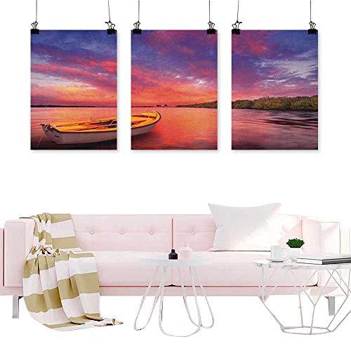 Sunset,3 Piece Wall Art Enchanted Coast with a Rowboat Under Magical Hazy Sky Peaceful Nature Image Wall Art Modern Artwork W24 x L48 x3pcs