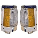 1990-1997 Nissan D21 Hardbody Pickup Truck Turn Signal Marker Lamp (with Chrome Trim) Corner Park Light Pair Set Left Driver And Right Passenger Side (1990 90 1991 91 1992 92 1993 93 1994 94 1995 95 1996 96 1997 97)