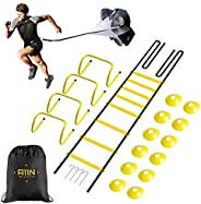 A11N Speed & Agility Training Set- Includes 1 Resistance Parachute, 1 Agility Ladder, 4 Adjustable Hurdles
