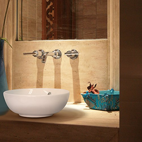 Kinbor Round Bathroom Porcelain Ceramic Vessel Sink Vanity Basin Bowl Above Counter White Art Basin (2) - Art Counter