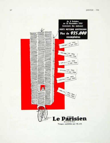 1958 Ad Le Parisien French Bicycle Newspaper Paper Boy Vintage Fifties Stack - Original Print Ad from PeriodPaper LLC-Collectible Original Print Archive