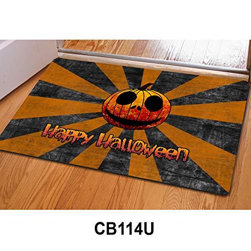 HUGS IDEA Funny Spooky Door Mat Happy Halloween Entryways Anti Skid Doormat Carpet Indoor/Outdoor/Front -