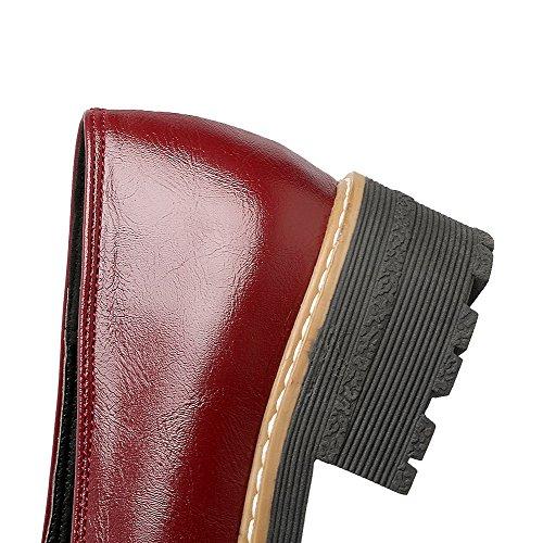 Amoonyfashion Kvinners Lave Hæler Runde Tå Pu Solid Pull-on Pumper-sko Røde