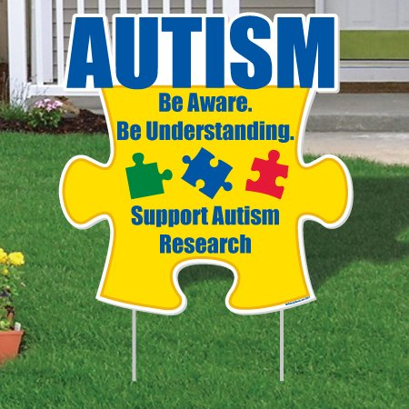"""VictoryStore Yard Sign Outdoor Lawn Decorations - Autism Awareness Puzzle Piece Be Aware."""" Yard Sign Set/10 21"""" X 21.5"""" w/EZ Stakes - SET OF 10!"""