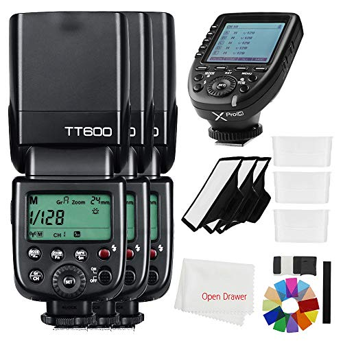Godox TT600 Flash 2.4G HSS Wireless GN60 Master/Slave Camera Thinklite Camer Flash Speedlite Built in Godox X System Receiver with Xpro-C Trigger Transmitter Compatible Canon Camera (3PCS)