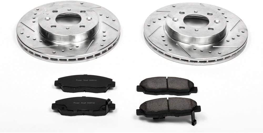 Power Stop K1929 Rear Ceramic Brake Pad and Cross Drilled//Slotted Combo Rotor One-Click Brake Kit
