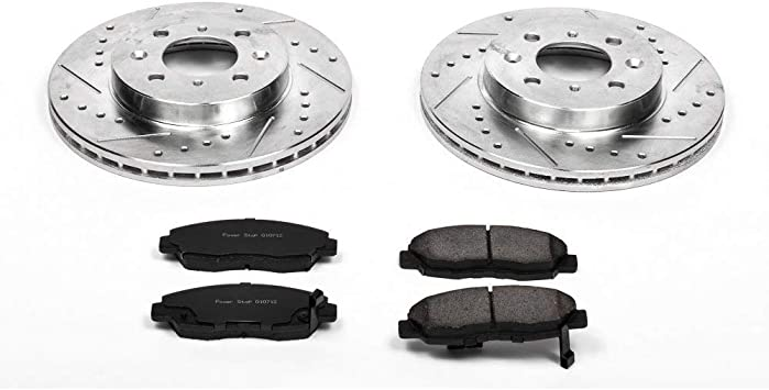 Power Stop K1069 Rear Z23 Evolution Brake Kit with Drilled//Slotted Rotors and Ceramic Brake Pads