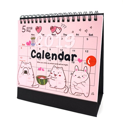 Desk Calendar 2019 Academic Planner Daily Weekly Monthly Yearly Organizer and Goal Journal, Designed to Set Goals and Get Things Done (Cat)