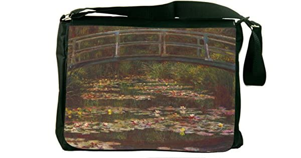 Rikki Knight Claude Monet Art Water Lily Pond #5 Messenger Bag School Bag