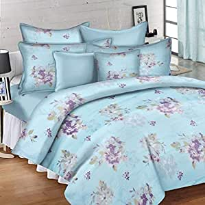 Ahmedabad Cotton 144 TC Printed Single Fitted Bedsheet with 1 Pillow Covers-Multicolor