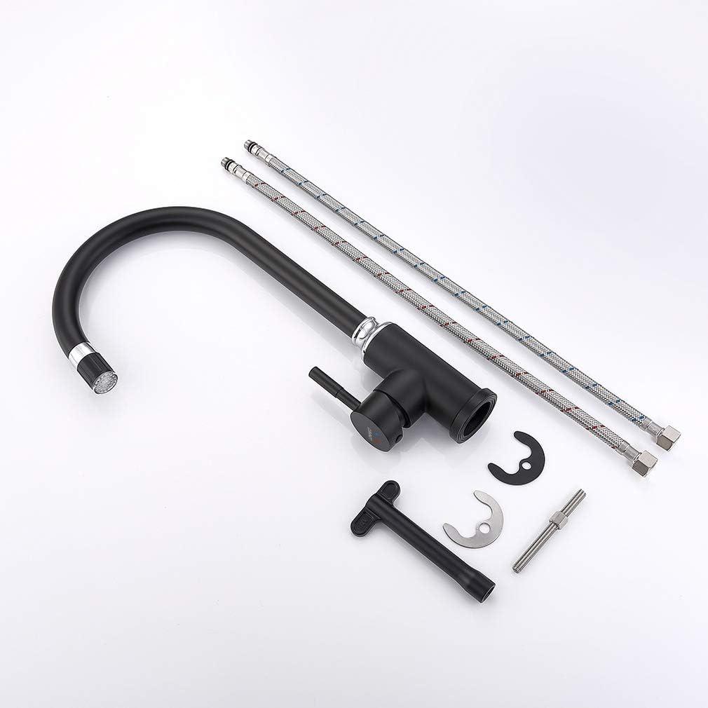 Mezclador Fregadero de Lat/ón para Cocina Grifo de Cocina Negro con RGB LED de 3 Colores Grifo para Fregadero Monomando 360/° Giratorio Forma-U Lonheo