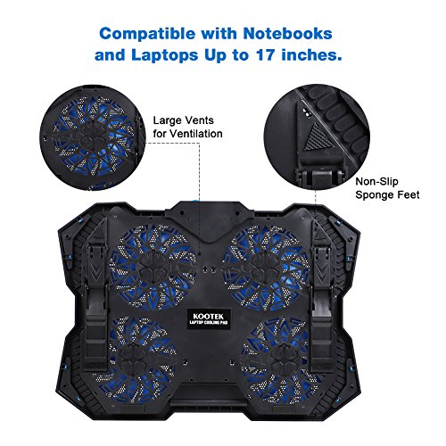 Kootek 12-17 Inch Laptop Cooling Pad, 4 Quiet Fans Cooler Chill Mat with Adjustable Speed Fan and 3 Height Mount Stand 2 USB Ports Chill Mats by Kootek (Image #5)