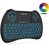 Mitid Wireless Mini Keyboard RGB Backlit 2.4G Remote with Mouse Touchpad Combos for Computer, Google Android TV Box, IPTV, HTPC, KODI, Roku, Raspberry Pi