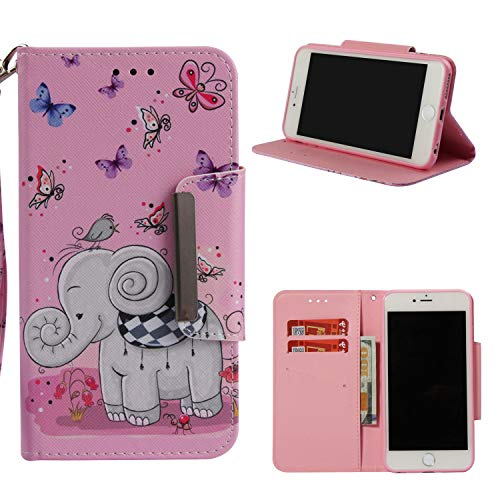 Leather Wallet Case for iPhone 6S/iPhone 6,Shinyzone Cute Cartoon Butterfly and Elephant Painted Pattern Flip Stand Case,Wristlet & Metal Magnetic Closure Protective Cover by Shinyzone