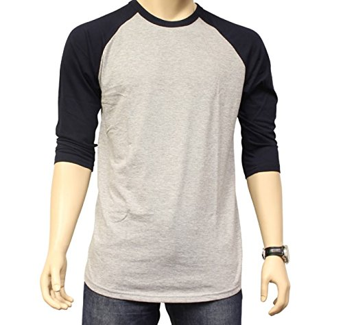 - Men's Plain Athletic 3/4 Sleeve Baseball Sports T-Shirt Raglan Shirt S-XL Team Jersey Gray Navy 2XL