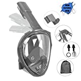Naedw Full Face Snorkel Mask 180° Panoramic View Diving Scuba Mask Easy Breath with Anti-Fog and Anti-Leak with Adjustable Head Straps Design for Adults,Youth,Kids (Gray, Small)