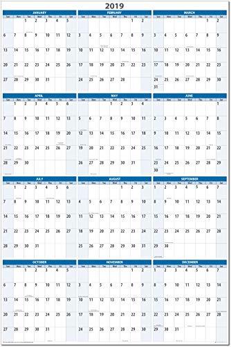 (Sky Blue 2019 Vertical Dry and Wet erasable Wall Calendar 32
