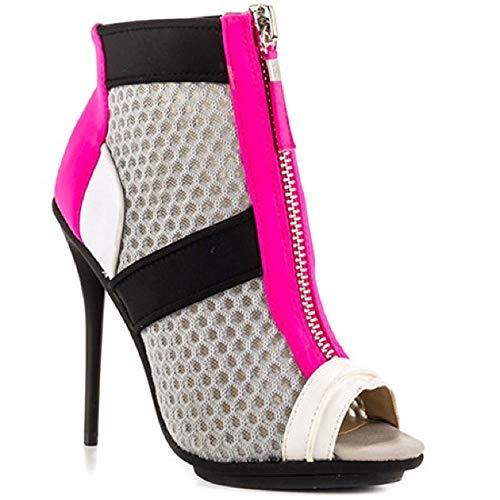 (gx by Gwen Stefani Women's Akira Boot, White/Grey/Pink, 7.5 M US)