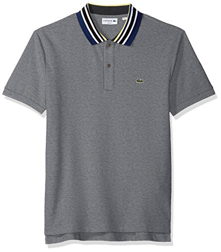 Lacoste Men's Short Sleeve Semi Fancy Mouline Noppe Pique Polo-Slim Fit, Galaxite Chine/Multico, 5