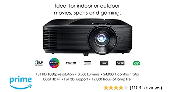 Optoma HD243X 1080p Projector for Movies and Gaming, Super Bright 3300 Lumens, Long 12000h Lamp Life, 3D Support, Easy Setup with Zoom and Keystone ...