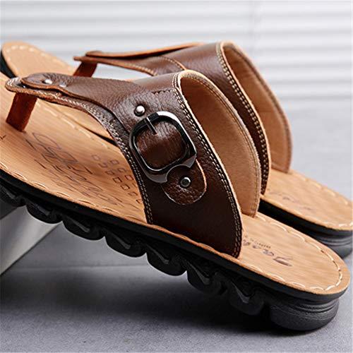 Scarpa GUA Sandali Spiaggia Marrone XI Giallo Acqua Pantofola Morbido di da del per Cuoio Uomo della Tong Bordo Libero I4qfw