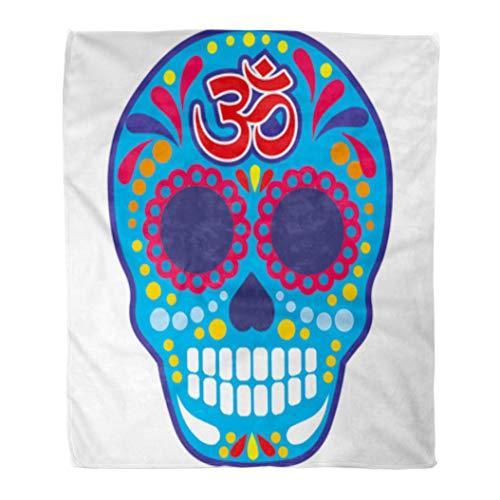 Golee Throw Blanket Aum Sugar Skull Om Vintage Bone Buddha Death Halloween Harmony 60x80 Inches Warm Fuzzy Soft Blanket for Bed Sofa -