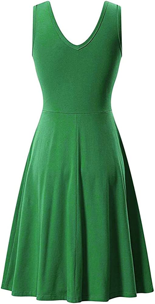 LIM/&Shop Womens Casual Plain Scoop Neck Fit and Flare Knee Length Dress