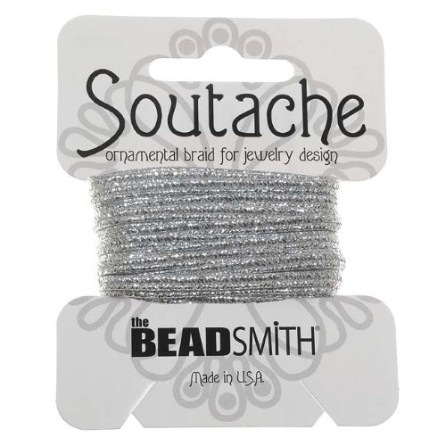- BeadSmith Textured Metallic Soutache Braided Cord 3mm Wide - Silver (3 Yards)