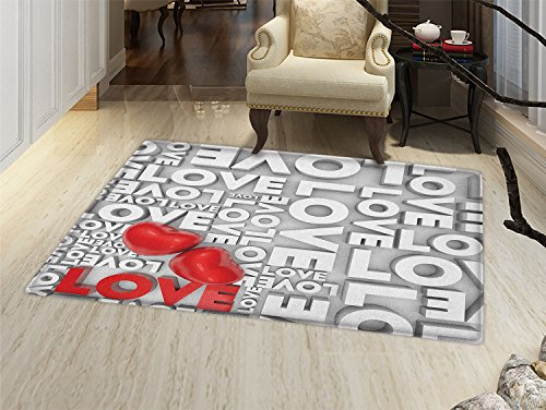 (smallbeefly Love Door Mat indoors Macro Big Texts Lettering Setting Passionate Emotions Feelings Valentines Design Customize Bath Mat with Non Slip Backing Grey Red White )