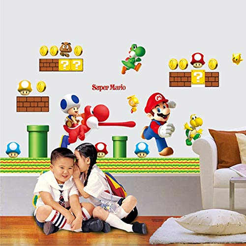 Best Choise Product Super Mario bros Wall Stickers Art Cartoon Wall s for Kids Rooms Baby Room Decoration Wallpaper Poster -