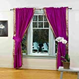 Indo Violet red Tab Top Sari Sheer Curtain (43 in. x 84 in.) with matching tieback Review