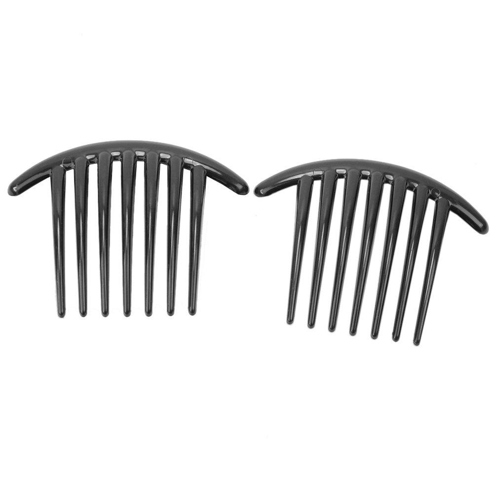 2Pcs Women Girls Black Plastic Side Clip Hair Comb Slide Headwear Accessory ReFaXi