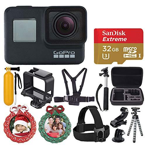GoPro HERO7 Black Sports Action Camera + SanDisk Extreme 32GB Memory Card + Medium Case + Flexible Tripod + Head & Chest Strap + Monopod + Floating Handle + 2X Wreath Photo Ornament – Holiday Bundle