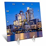 3dRose Danita Delimont - Cities - Netherlands, Amsterdam. Omval Commercial District, office towers - 6x6 Desk Clock (dc_277775_1)