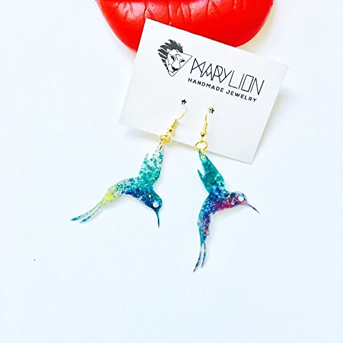 5ce69f571ab1 Colibrí - Pendientes largos con brillantes - Pendientes con pájaros - Joyas  colibrí - Accesorios -