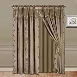 GorgeousHomeLinen 8 PC Nada Luxury Faux Jacquard Floral Design Panel, Rod Pocket Window Curtain Set Attached Valance, Panel, and Sheer- 2 Tie Backs Included (63