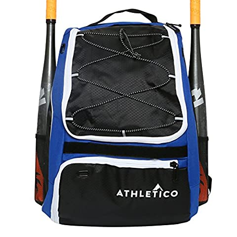 Athletico Baseball Bat Bag - Backpack for Baseball, T-Ball & Softball Equipment & Gear for Kids, Youth, and Adults | Holds Bat, Helmet, Glove, & Shoes | Separate Shoe Compartment, & Fence Hook - Personalized Free Toddler Tee
