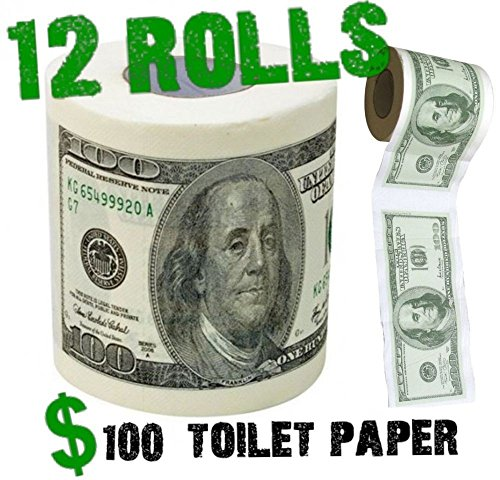 (12) One Hundred Bill Toilet Paper Money Roll - Gift Joke (Bombs Fart 100)