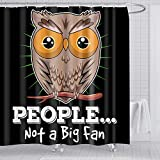 Owl Shower Curtain balck-Creative High Qulity Polyester Fabric 72x72 Inches with 12pcs Shower Curtain Hooks for Kids Bathroom Decor