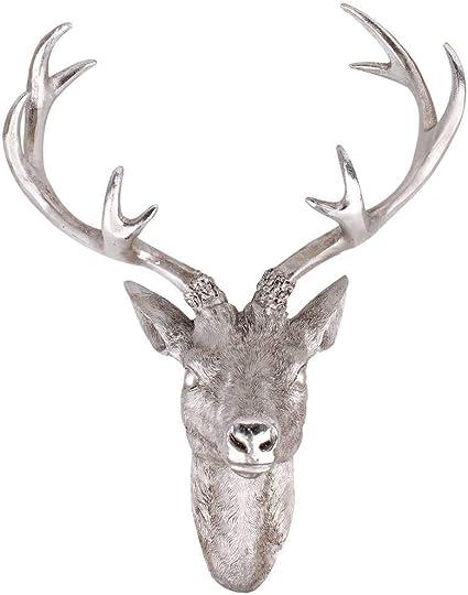 Herten Gewei Herten Kop 51 X 60 Cm In Zilver Metaal Decoratieve Sculptuur Amazon Nl Wonen Keuken