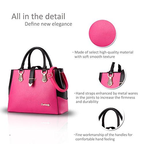 NICOLE&DORIS bolso nuevo estilo de la moda en blanco y negro bolsa de hombro informal bolso de trabajo transversal del cuerpo para damas(White) Rosa