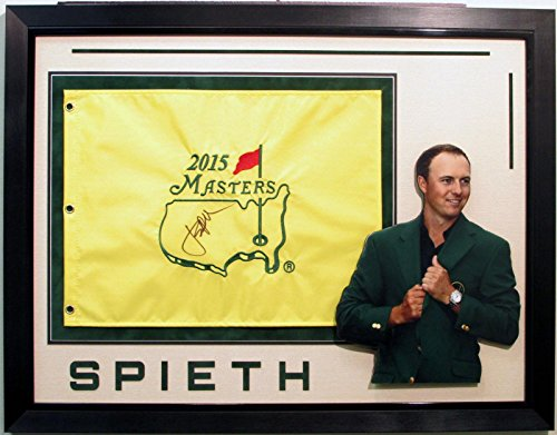 Jordan Spieth Signed Autographed Golf Champion 2015 Masters Flag Framed - Autographed Pin Flags