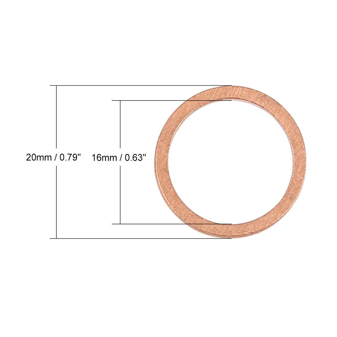 X AUTOHAUX 30pcs Cuivre Rondelle Plat Scell/é Anneau Entretoise pour Voiture 16 x 20 x 1.5mm