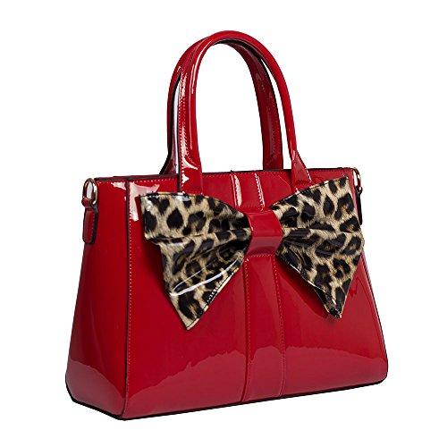 Red Fashion Top Designer Women's Ladies Patent Bag Shoulder Bow Shiny zWqwAU5A