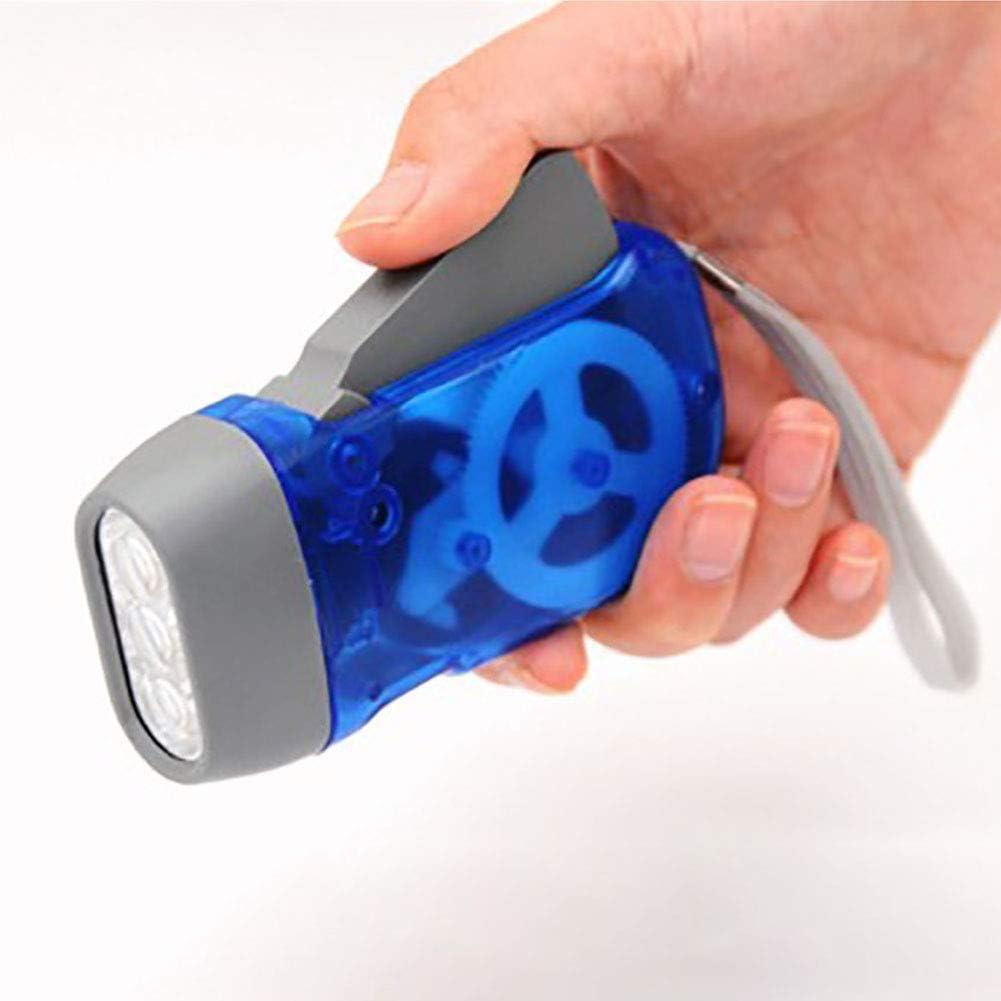 BAODANH 3 LED Dynamo Wind Up Flashlight Torch Light Hand Press Crank NR Camping