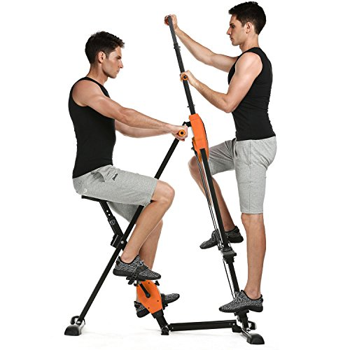 Kepteen Vertical Climber Folding 2 in 1 Climbing Stepper Home Gym Exercise Machine Exercise Bike for Home Body Trainer Stepper Cardio Workout Training(US Stock) (Orange)