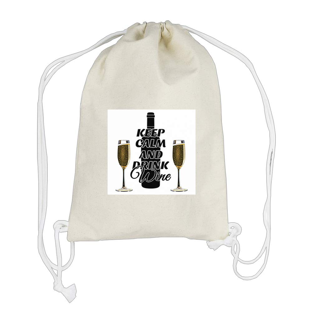 Keep Clam And Two Glass full of Wine Cotton Canvas Backpack Drawstring Bag by Style in Print